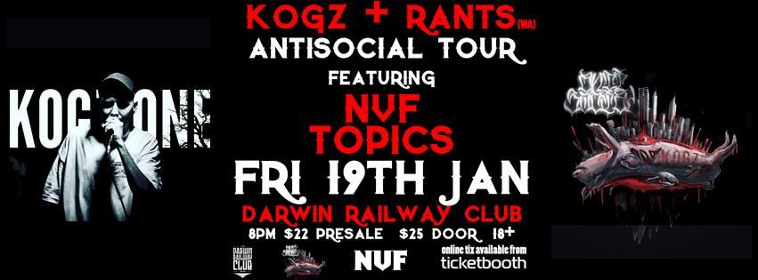 Kogz Antisocial Tour Darwin 2018