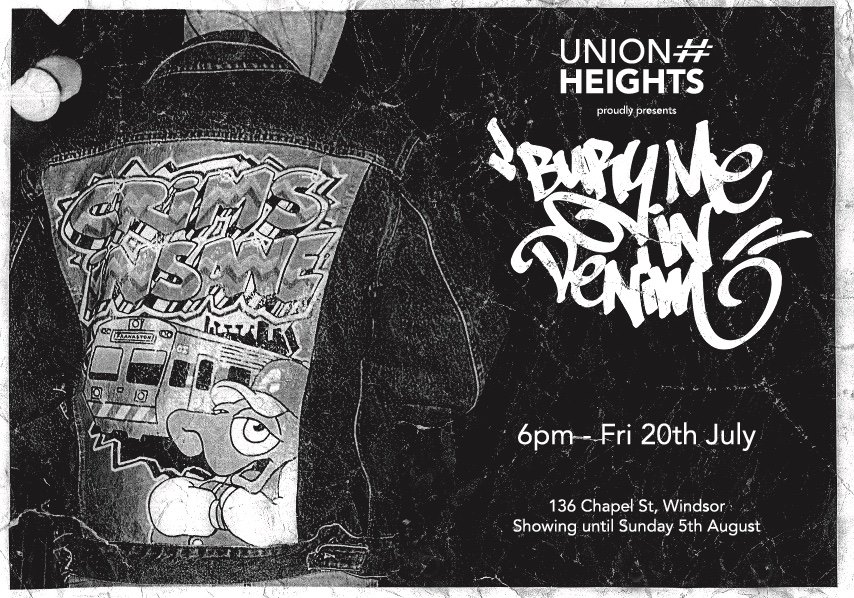 "Inspired by the D.I.Y fashions of popular 70s and 80s subcultures ""Bury Me In Denim"" is a collection of art works painted on the backs of pre loved denim jackets. Painted by some of Melbourne's finest and most influential graffiti writers. Come through and check out a unique show case of wearable art."