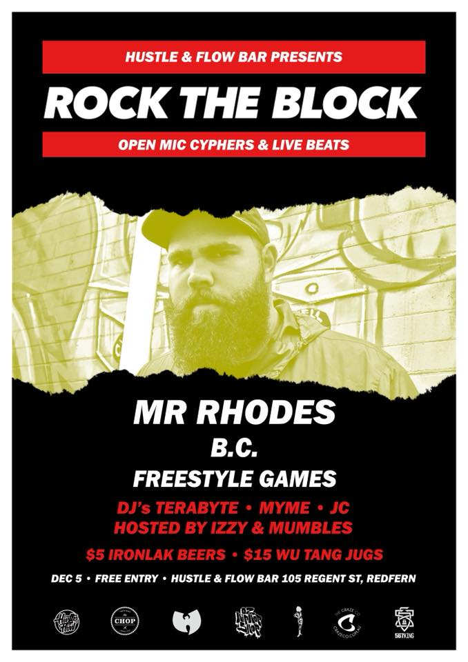 Rock The Block - Mr Rhodes  B.C.  Freestyle Games Flyer