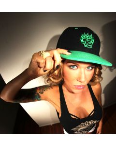Velvet Couch Snap Back Hat - Green Flames