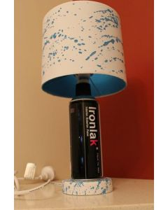 Ironlak Desk Lamp White/Blue Splatter