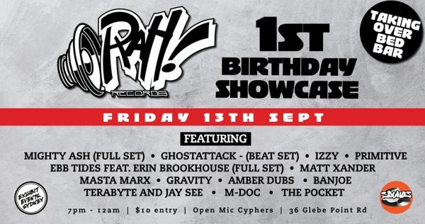 Sydney Hip Hop Gig News: Rah! Records 1st Birthday Showcase