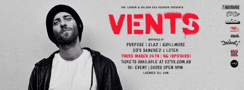Vents Announces Adelaide Show