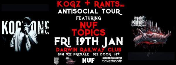 Gig News: Kogz(Antisocial Tour) Darwin Album Launch