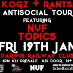 Gig News: Kogz(Antisocial Tour) Darwin Album Launch