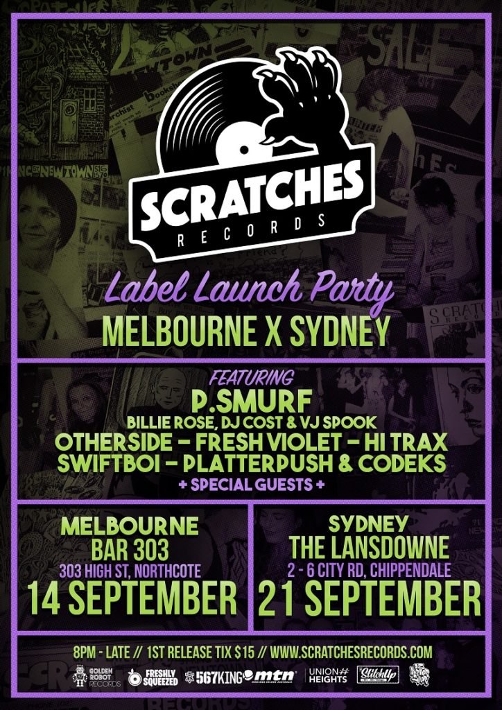 Scratches Records Launch Flyer